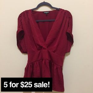 Express red tie back blouse medium